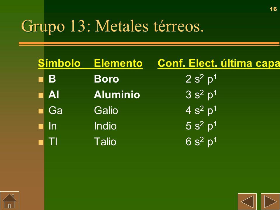 Grupo 13: Metales térreos.