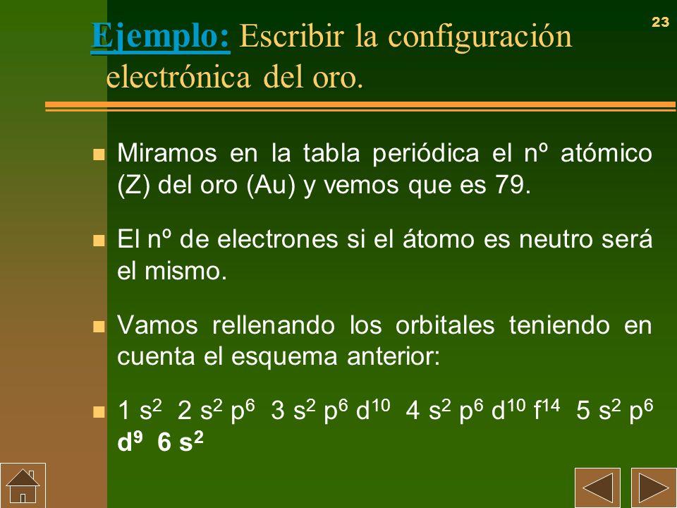 Ejemplo: Escribir la configuración electrónica del oro.