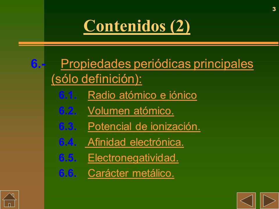 Contenidos (2) 6.- Propiedades periódicas principales (sólo definición): 6.1. Radio atómico e iónico.