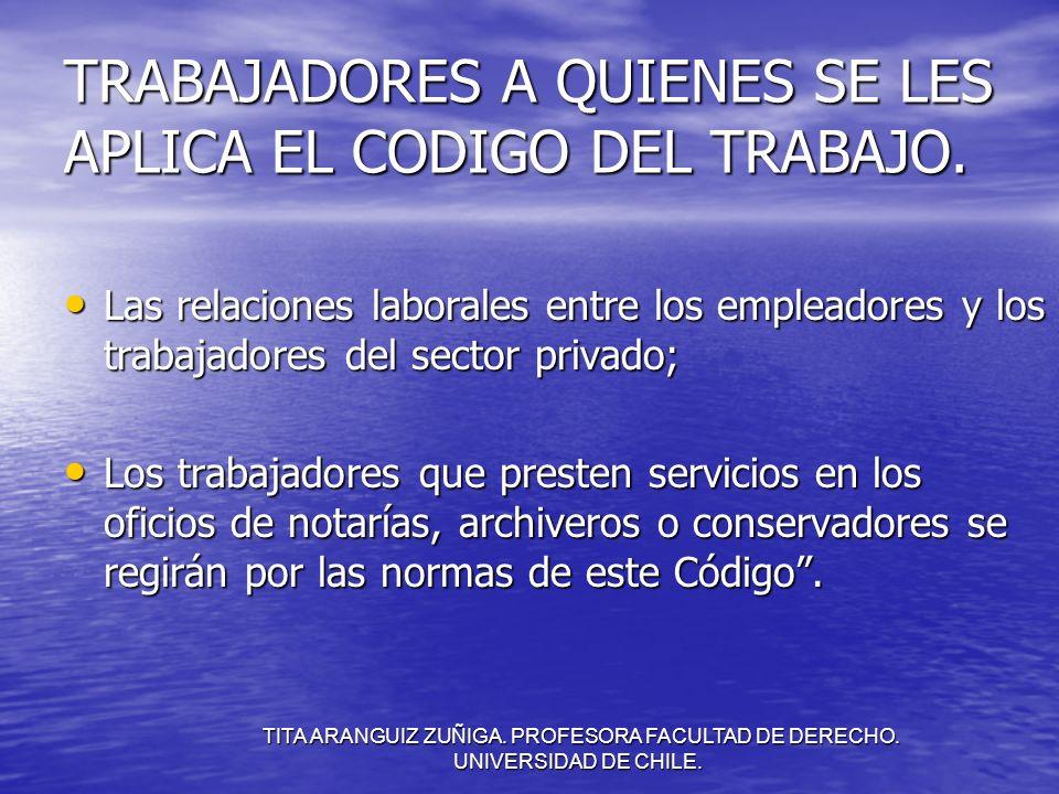 TRABAJADORES A QUIENES SE LES APLICA EL CODIGO DEL TRABAJO.