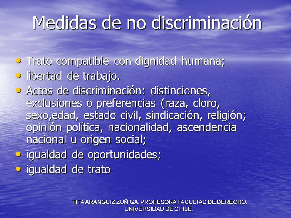 Medidas de no discriminación