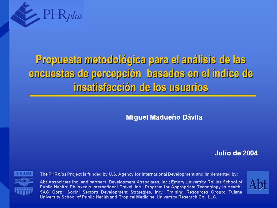 Propuesta metodológica para el análisis de las encuestas de percepción basados en el índice de insatisfacción de los usuarios