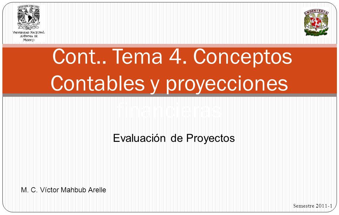 Cont.. Tema 4. Conceptos Contables y proyecciones financieras