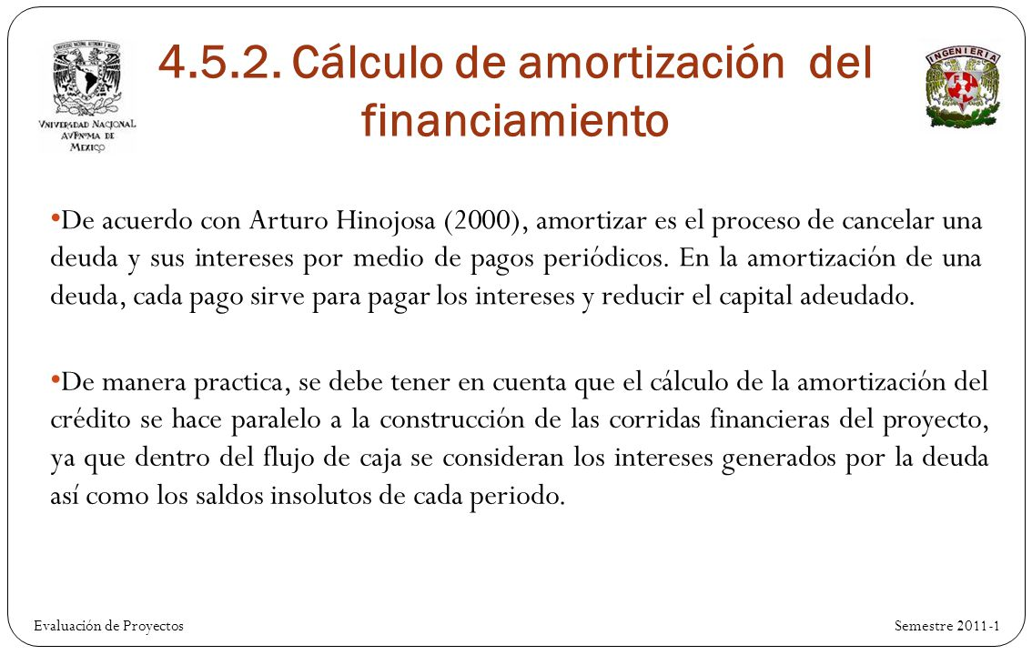4.5.2. Cálculo de amortización del financiamiento