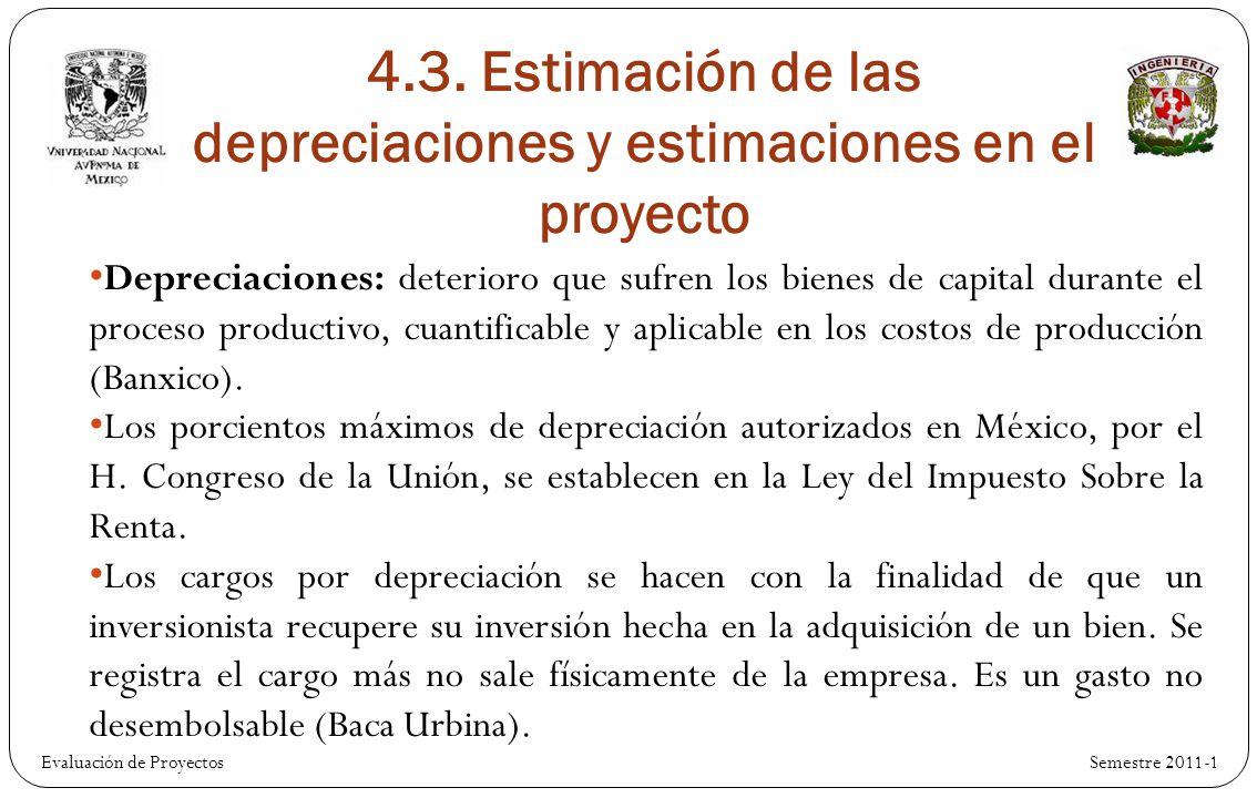 4.3. Estimación de las depreciaciones y estimaciones en el proyecto