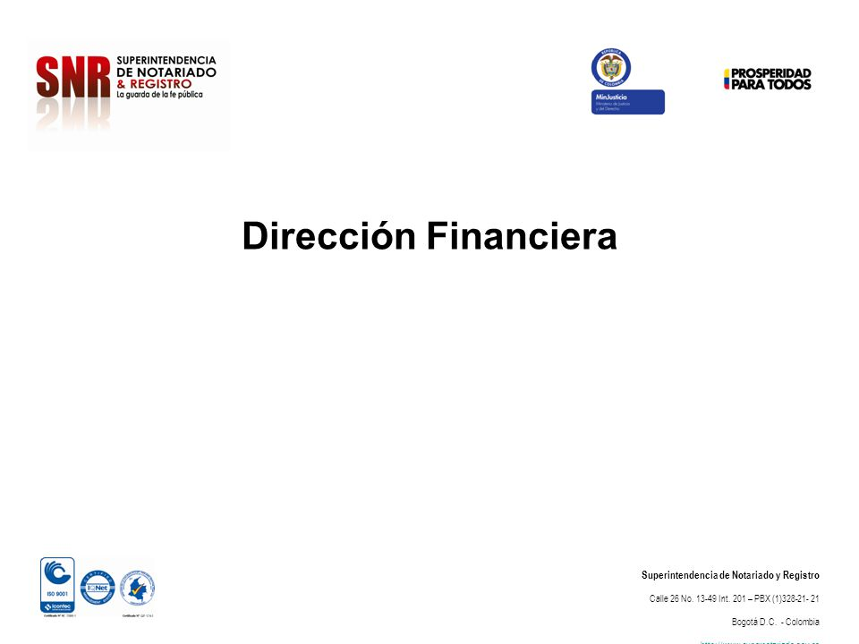 Dirección Financiera Superintendencia de Notariado y Registro