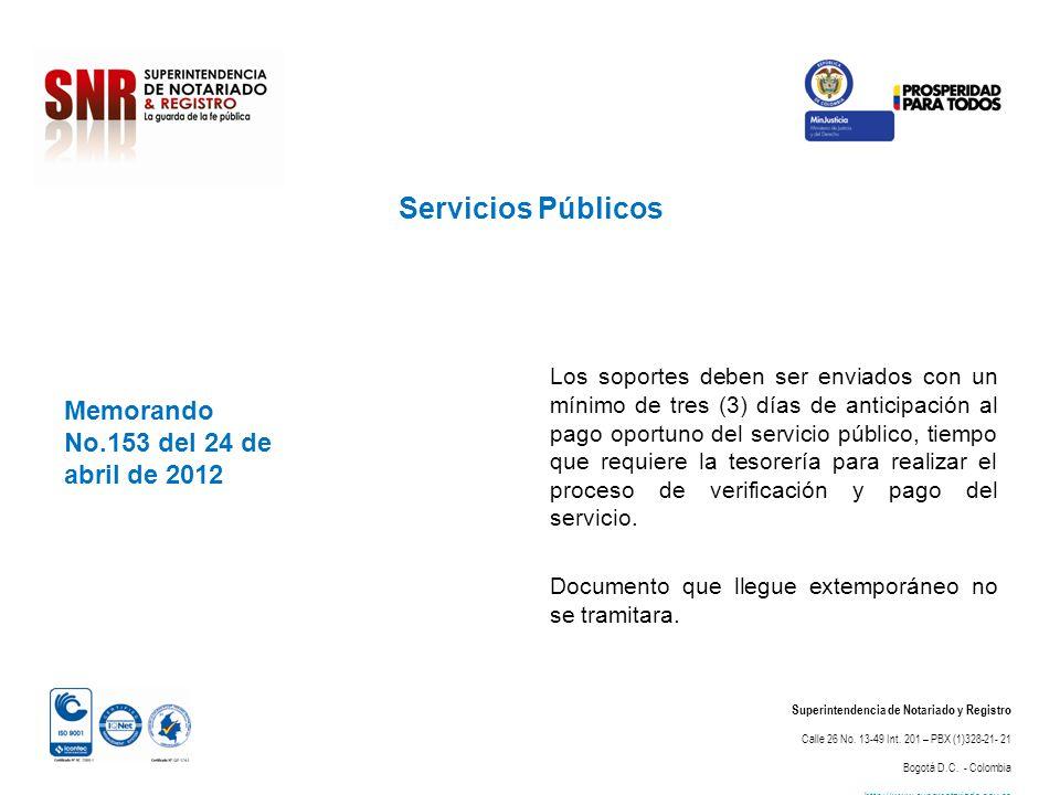 Servicios Públicos Memorando No.153 del 24 de abril de 2012