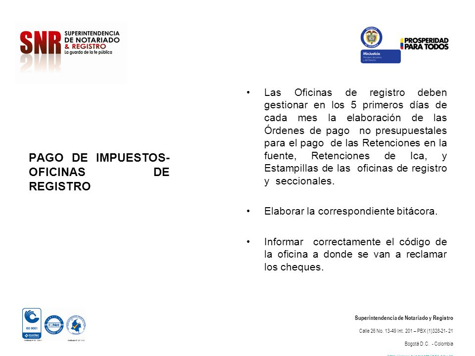 PAGO DE IMPUESTOS- OFICINAS DE REGISTRO