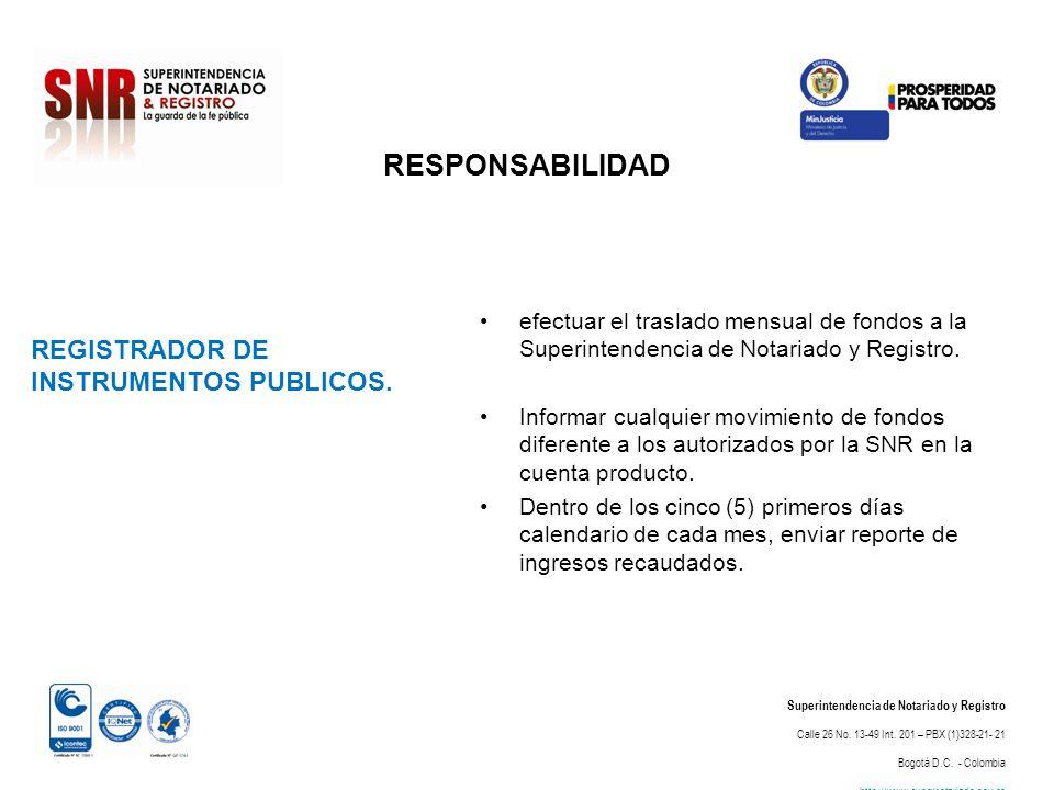 RESPONSABILIDAD REGISTRADOR DE INSTRUMENTOS PUBLICOS.