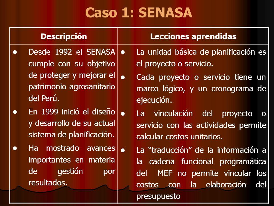 Caso 1: SENASA Descripción Lecciones aprendidas