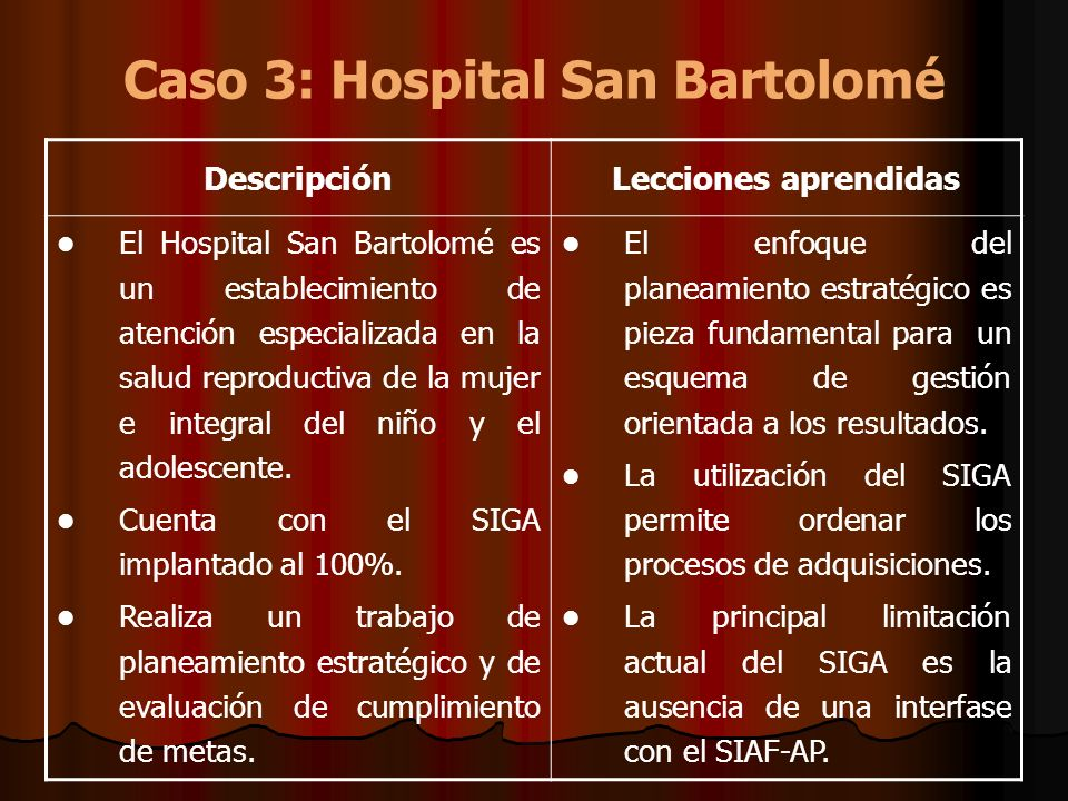 Caso 3: Hospital San Bartolomé