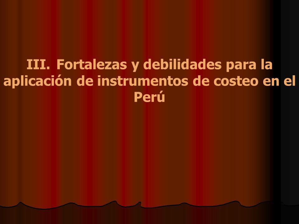 III. Fortalezas y debilidades para la aplicación de instrumentos de costeo en el Perú