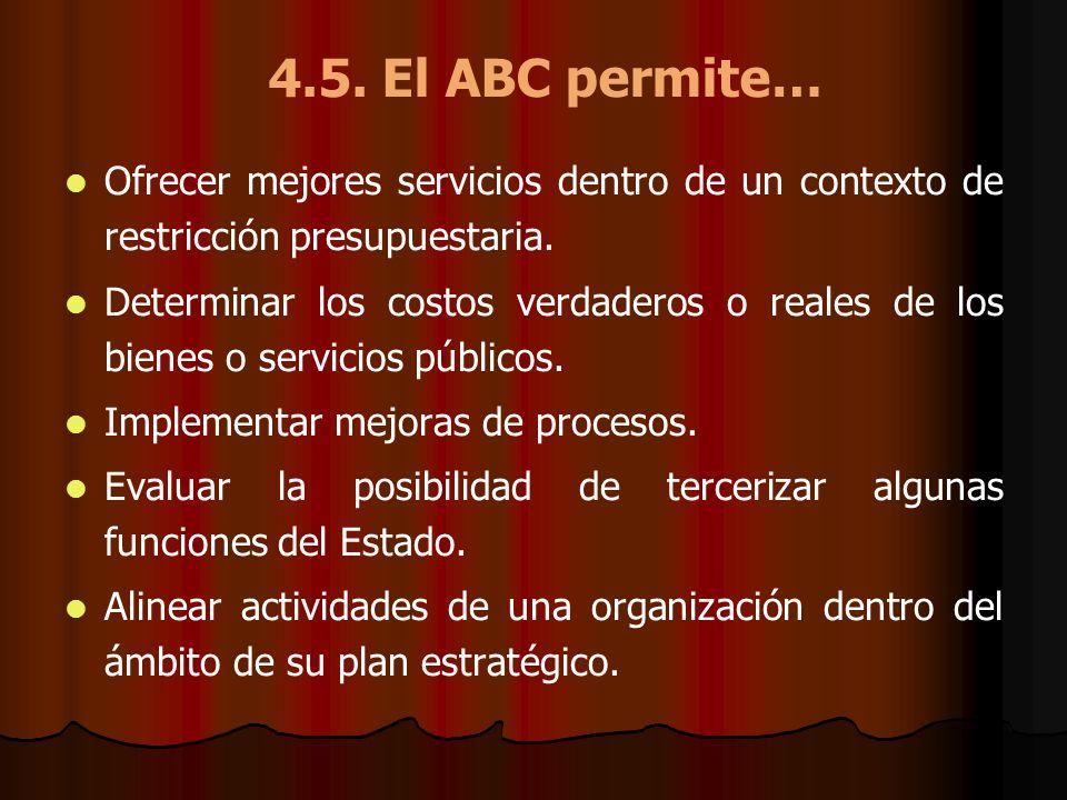 4.5. El ABC permite… Ofrecer mejores servicios dentro de un contexto de restricción presupuestaria.