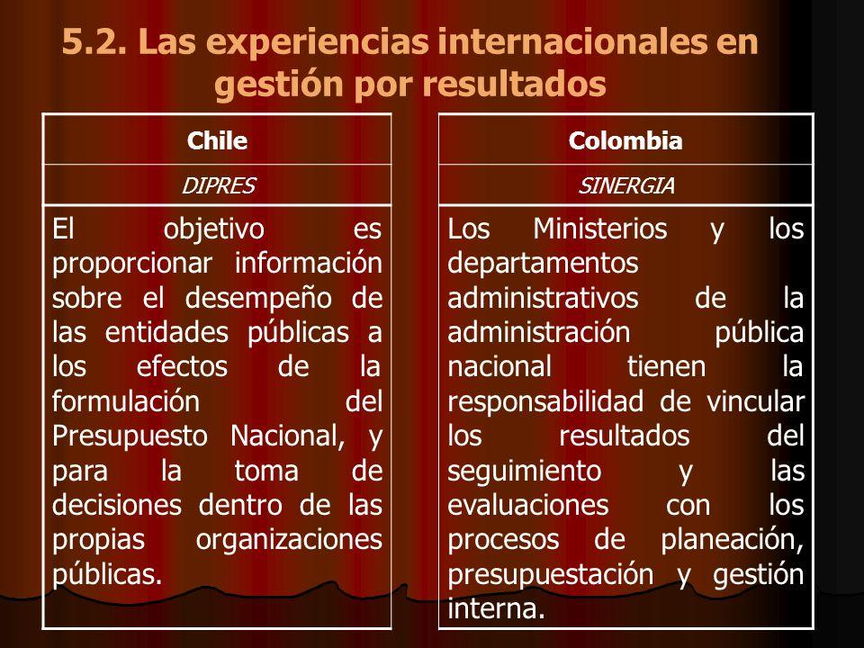 5.2. Las experiencias internacionales en gestión por resultados