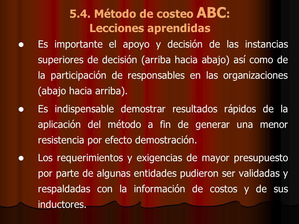 5.4. Método de costeo ABC: Lecciones aprendidas