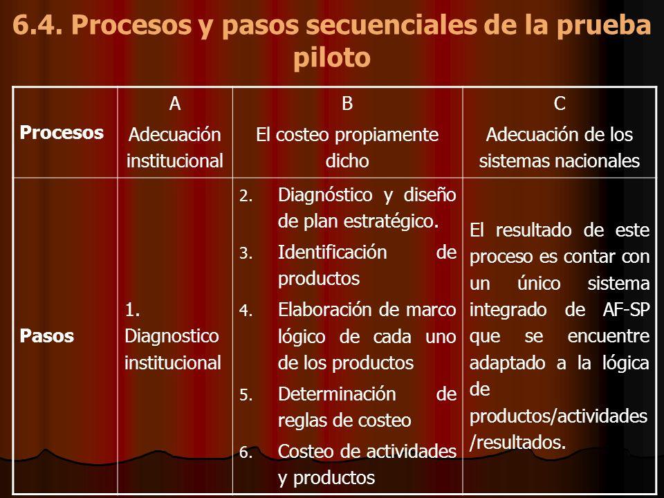6.4. Procesos y pasos secuenciales de la prueba piloto