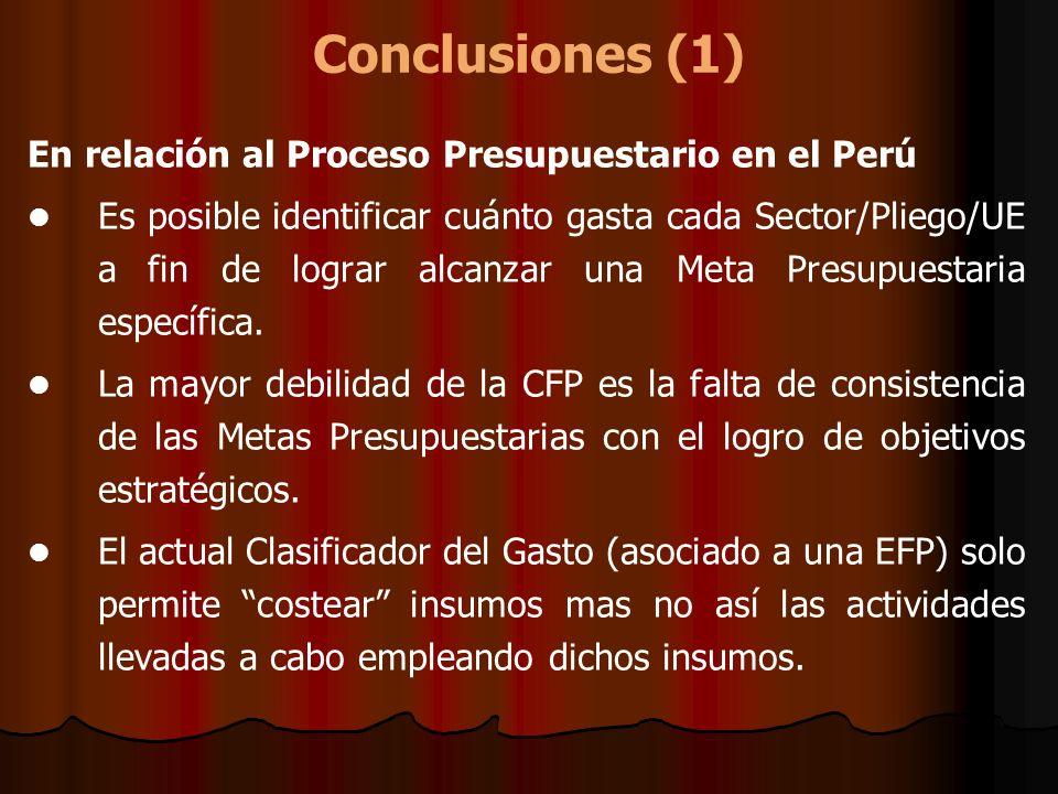 Conclusiones (1) En relación al Proceso Presupuestario en el Perú