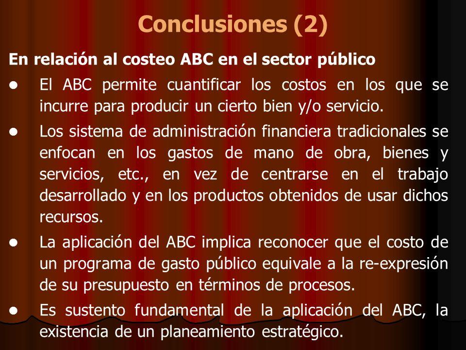 Conclusiones (2) En relación al costeo ABC en el sector público