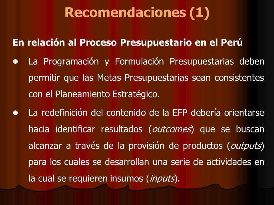 Recomendaciones (1) En relación al Proceso Presupuestario en el Perú