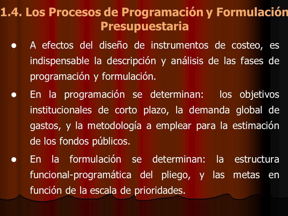 1.4. Los Procesos de Programación y Formulación Presupuestaria