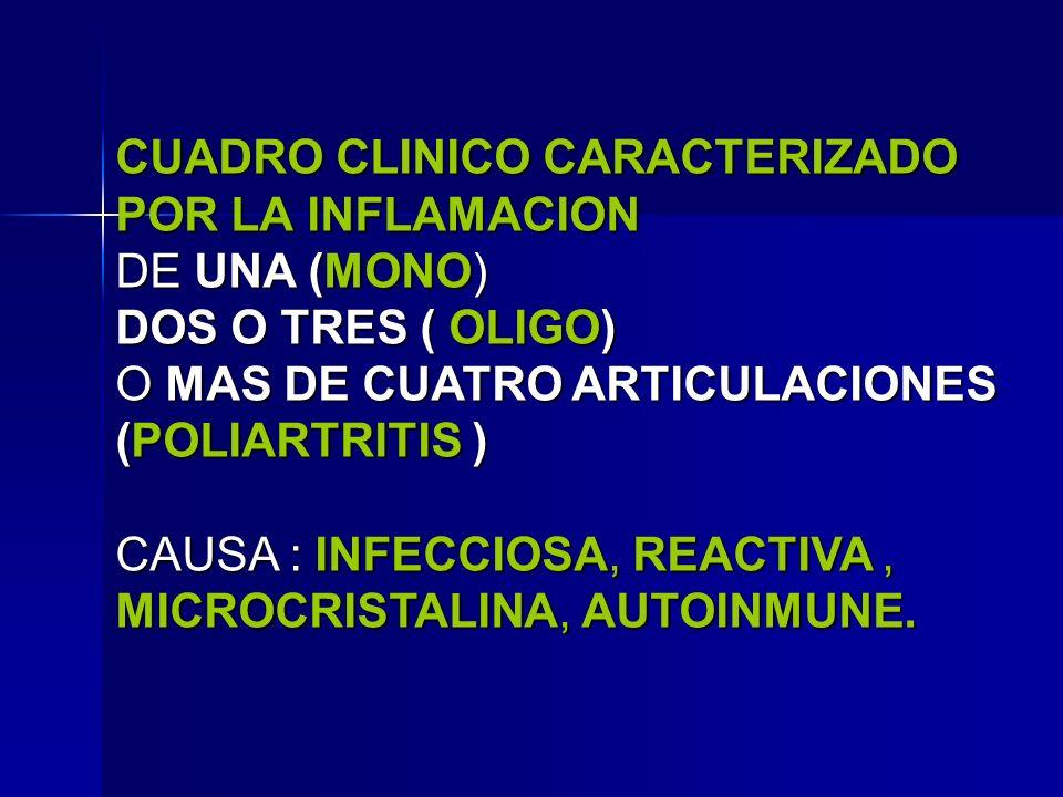 CUADRO CLINICO CARACTERIZADO POR LA INFLAMACION DE UNA (MONO)