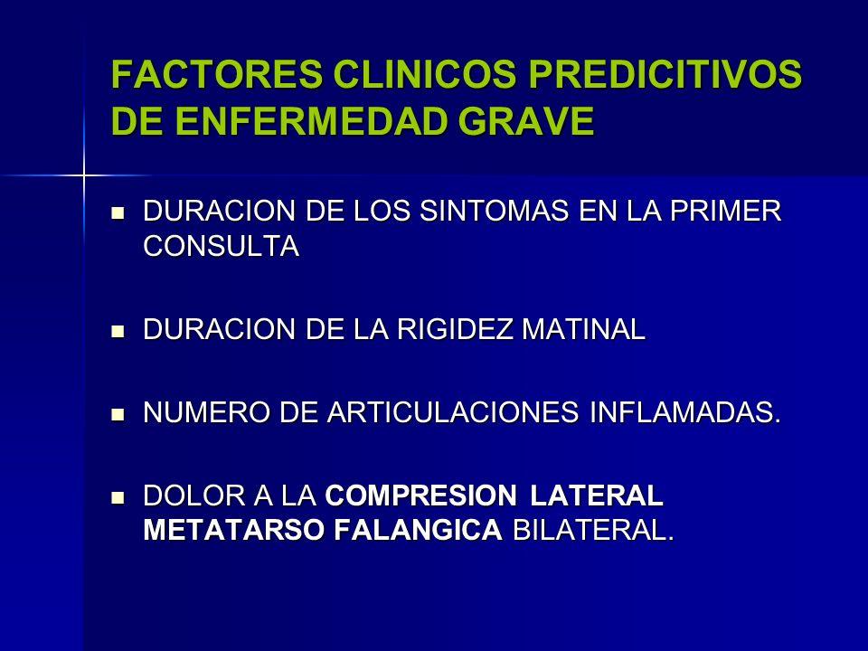 FACTORES CLINICOS PREDICITIVOS DE ENFERMEDAD GRAVE