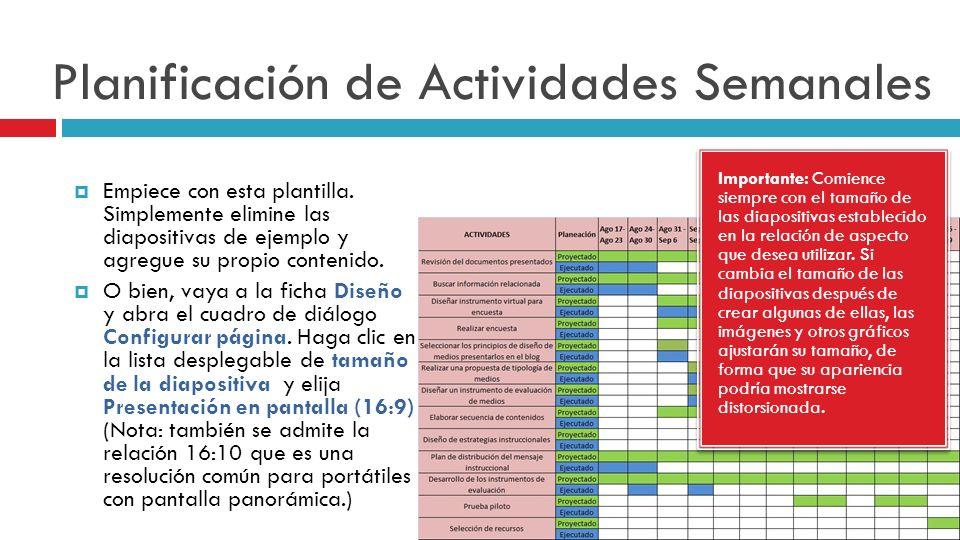 Planificación de Actividades Semanales