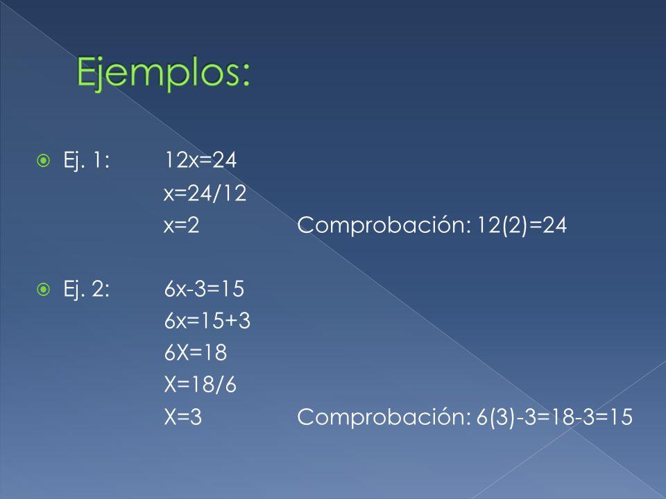 Ejemplos: Ej. 1: 12x=24 x=24/12 x=2 Comprobación: 12(2)=24