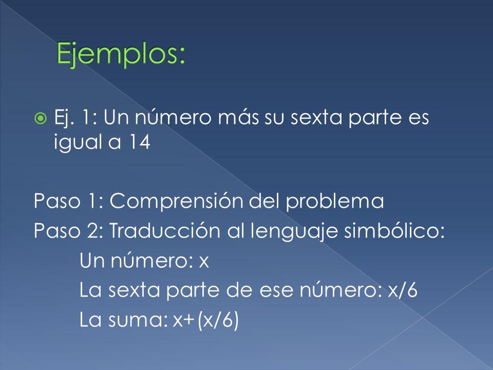Ejemplos: Ej. 1: Un número más su sexta parte es igual a 14