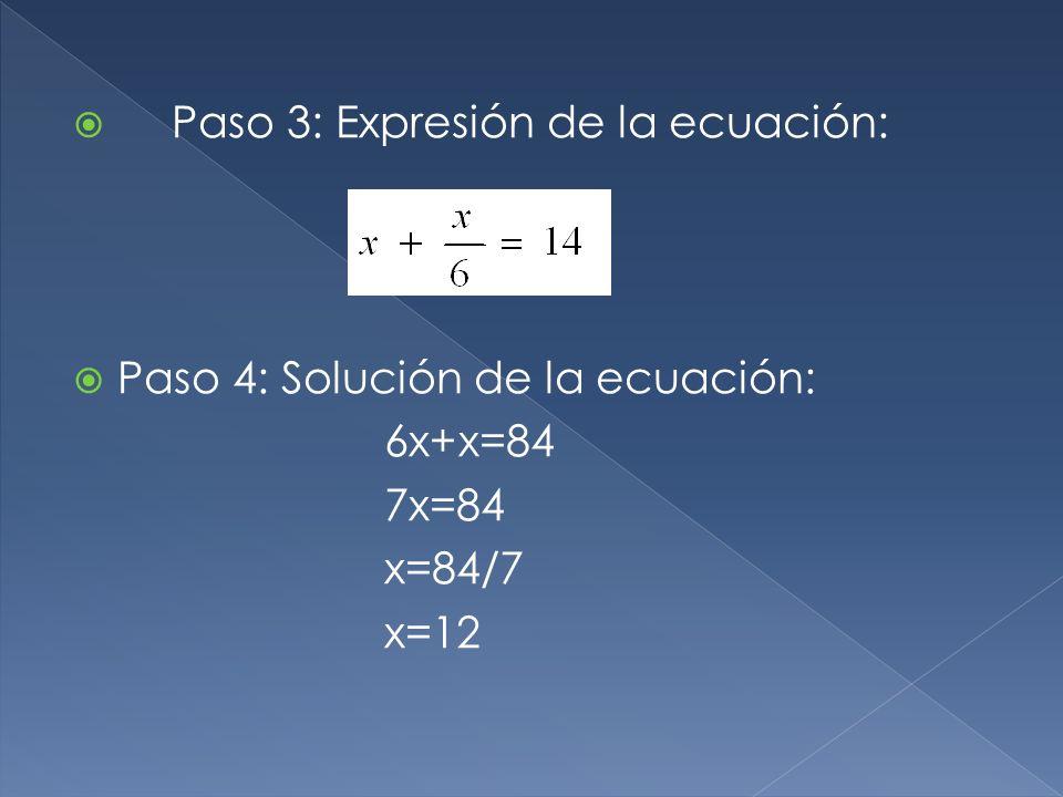 Paso 3: Expresión de la ecuación: