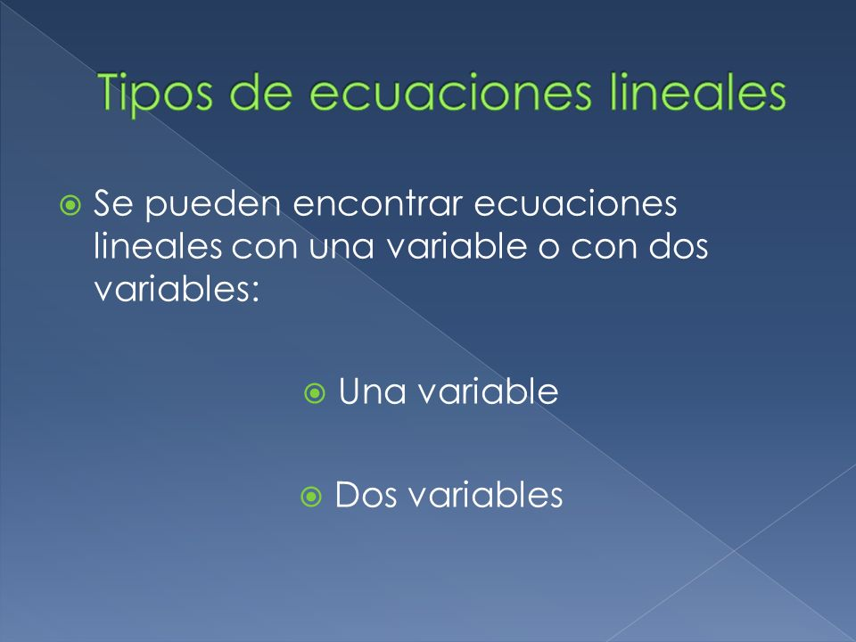 Tipos de ecuaciones lineales