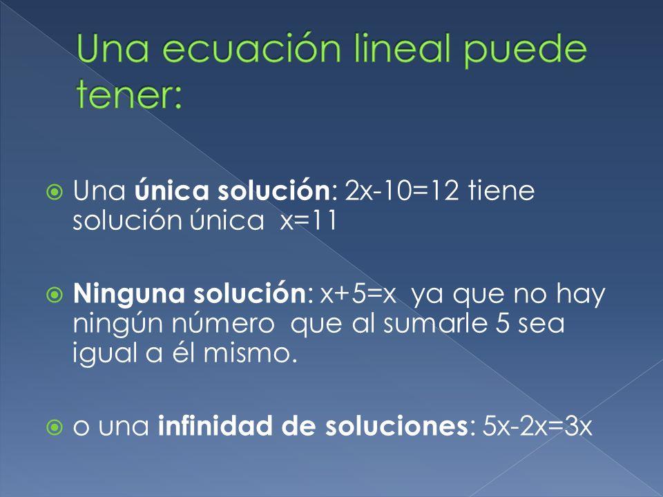 Una ecuación lineal puede tener: