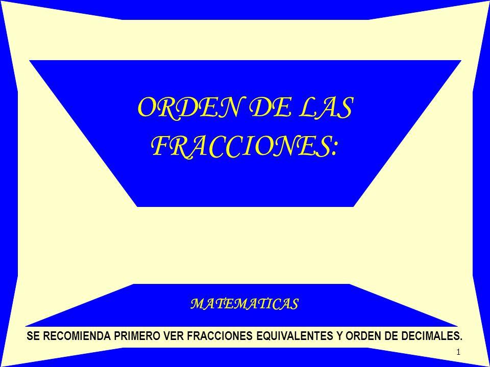 ORDEN DE LAS FRACCIONES: