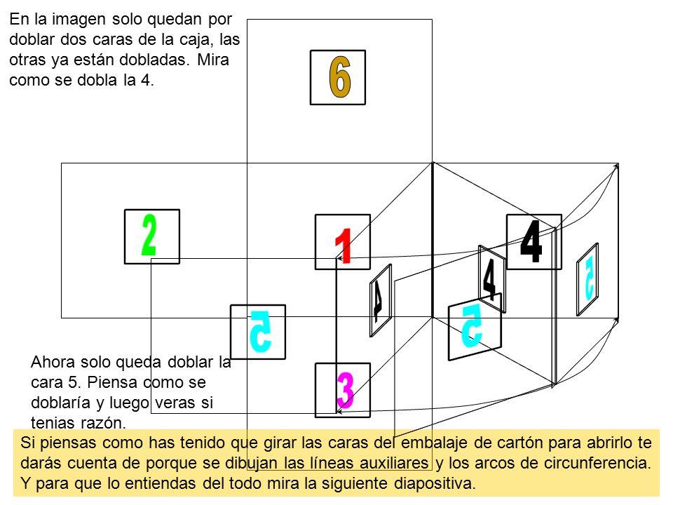 En la imagen solo quedan por doblar dos caras de la caja, las otras ya están dobladas. Mira como se dobla la 4.