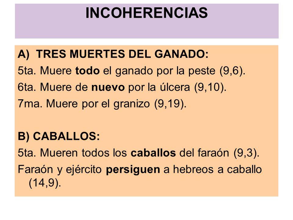 INCOHERENCIAS A) TRES MUERTES DEL GANADO: