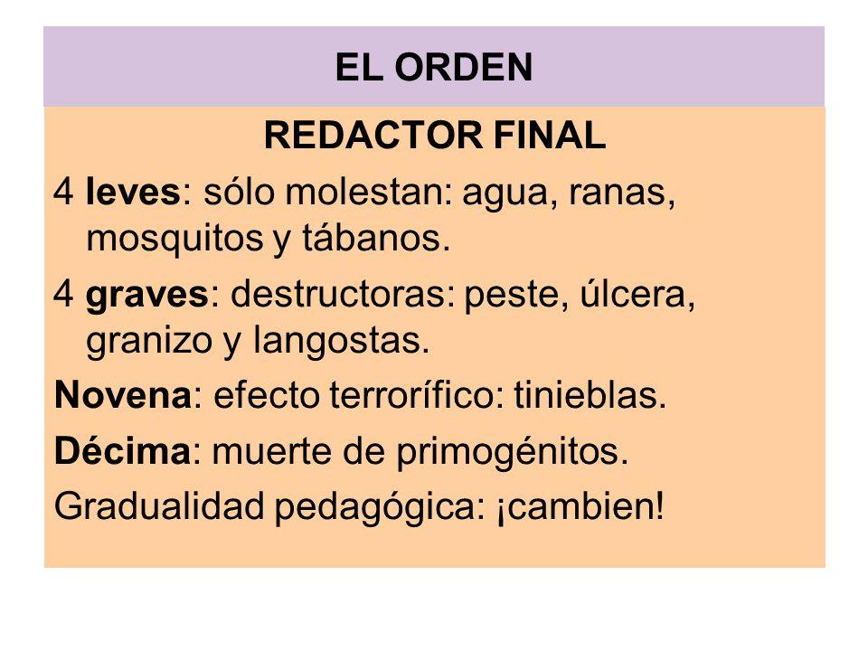 EL ORDEN REDACTOR FINAL. 4 leves: sólo molestan: agua, ranas, mosquitos y tábanos. 4 graves: destructoras: peste, úlcera, granizo y langostas.