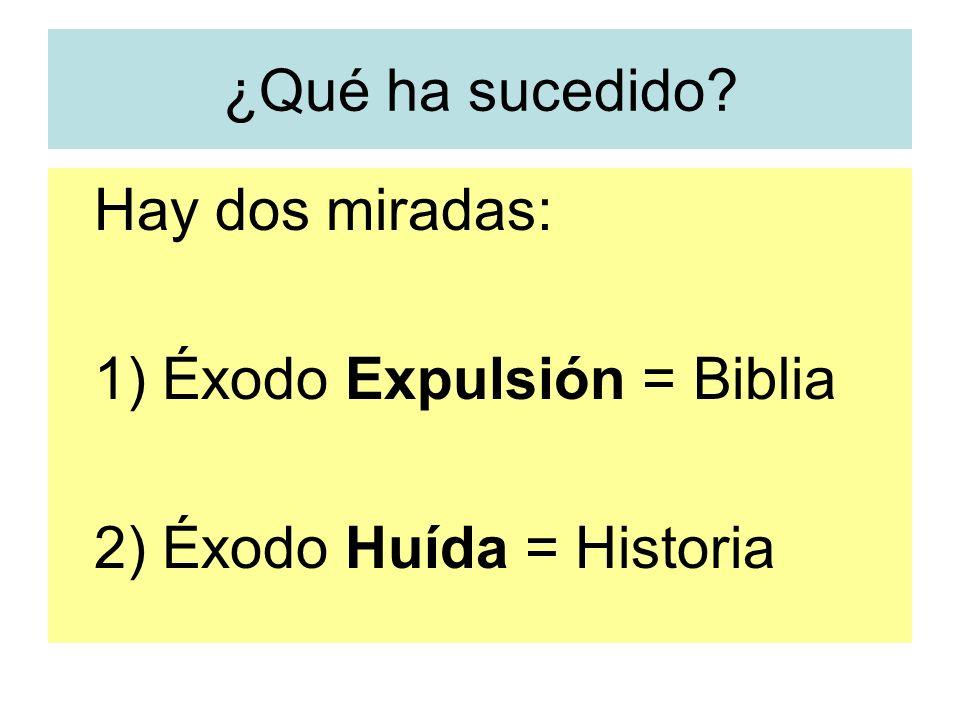 1) Éxodo Expulsión = Biblia 2) Éxodo Huída = Historia