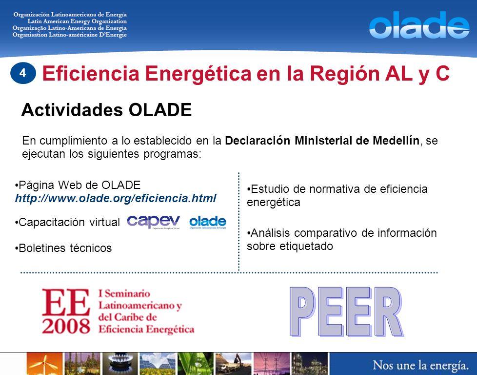 PEER Eficiencia Energética en la Región AL y C Actividades OLADE 4