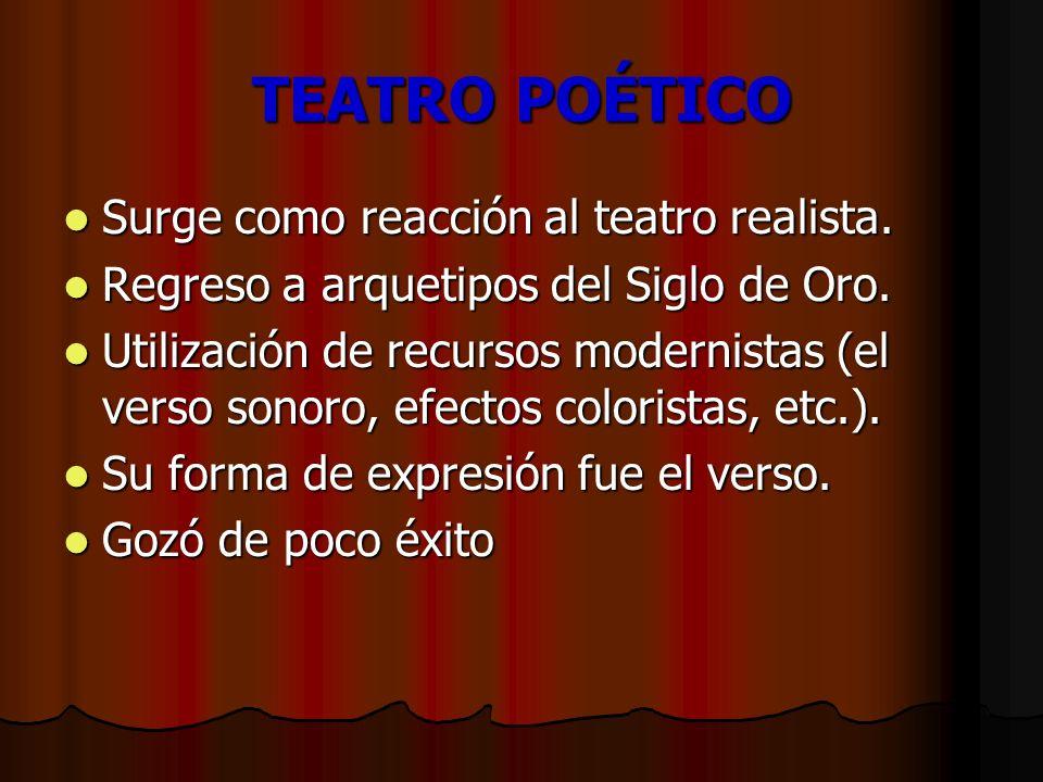 TEATRO POÉTICO Surge como reacción al teatro realista.