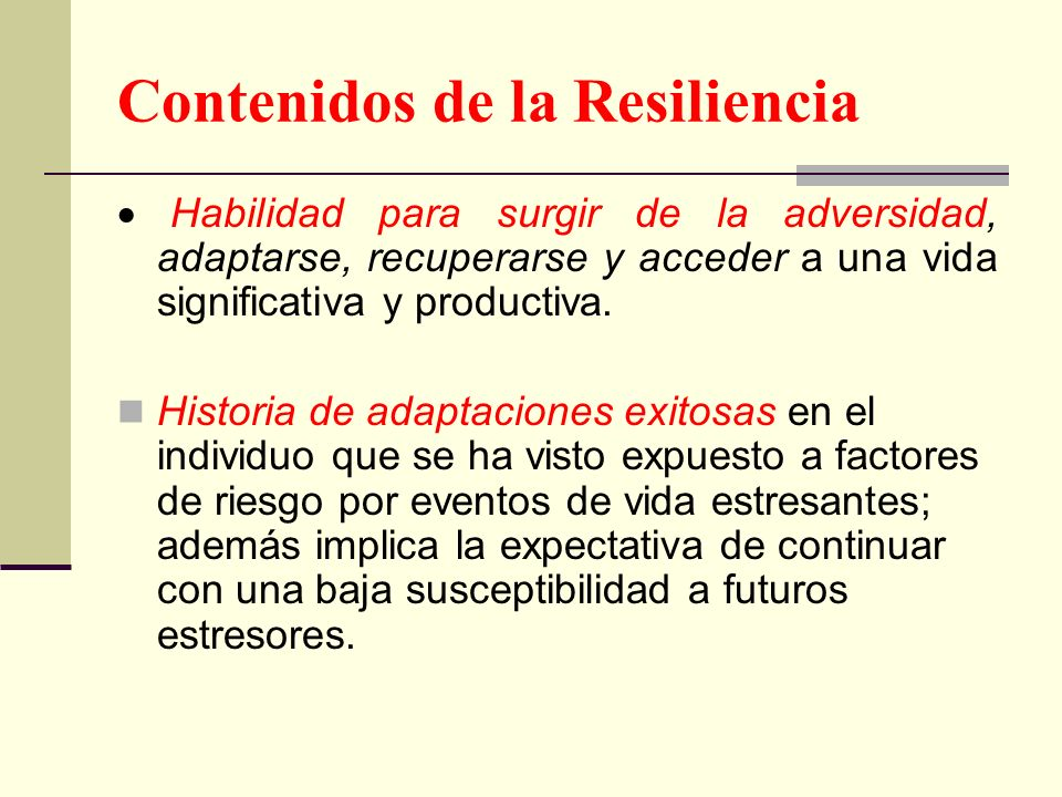 Contenidos de la Resiliencia