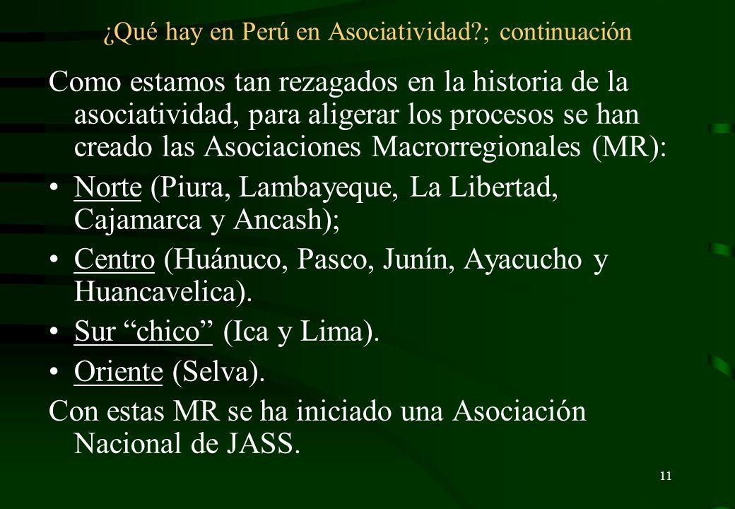 ¿Qué hay en Perú en Asociatividad ; continuación