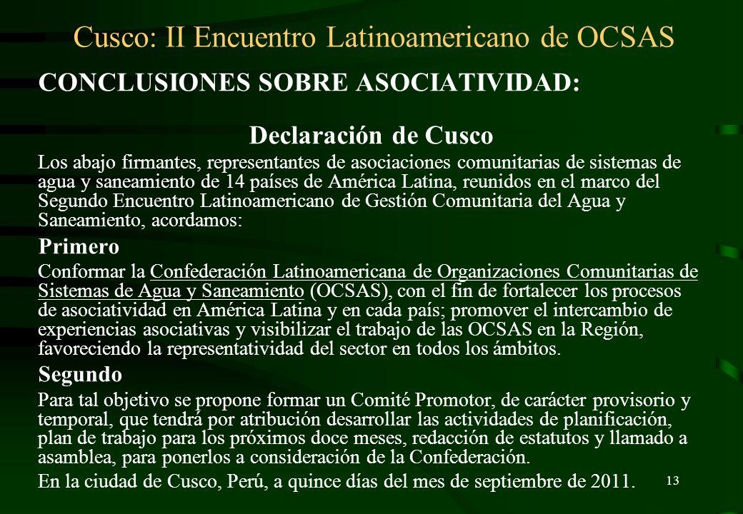 Cusco: II Encuentro Latinoamericano de OCSAS