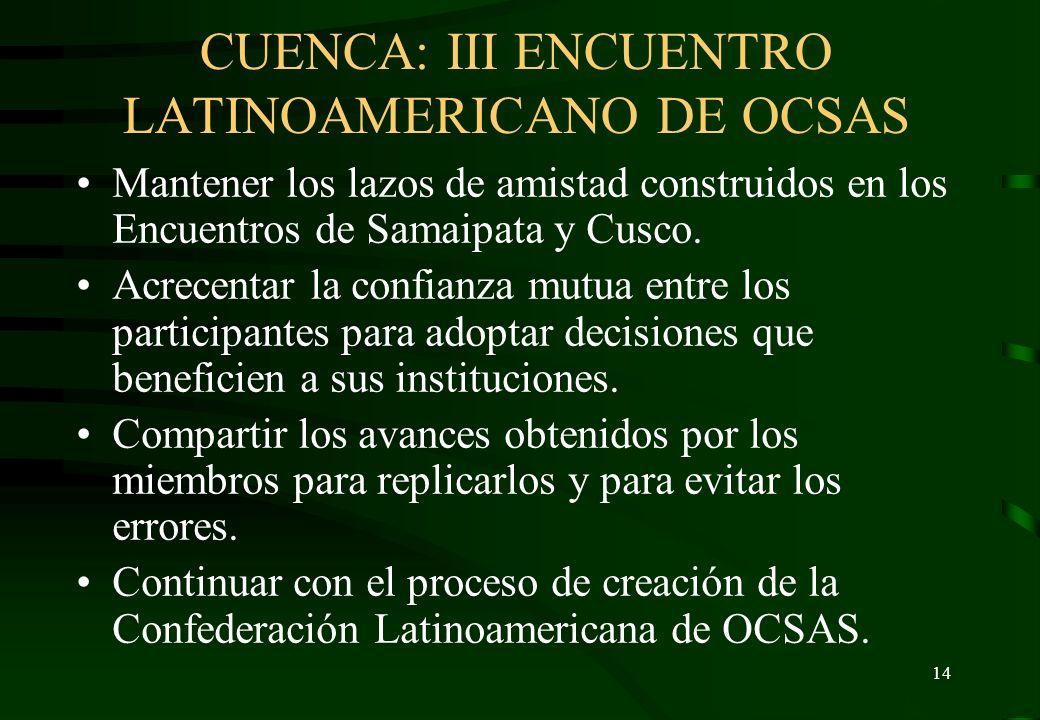 CUENCA: III ENCUENTRO LATINOAMERICANO DE OCSAS