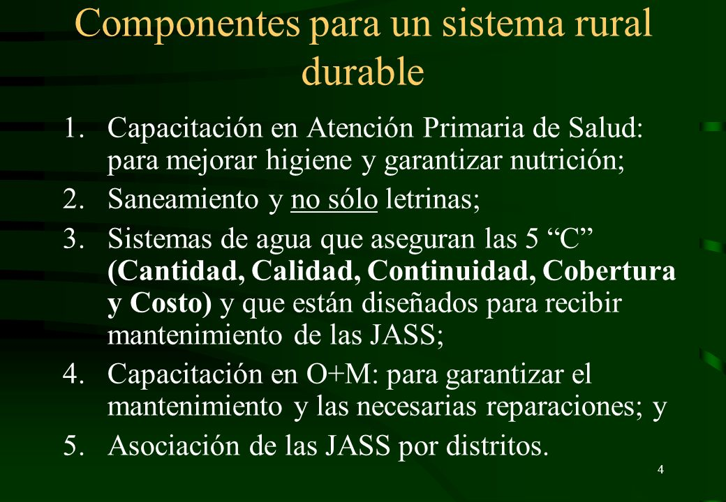 Componentes para un sistema rural durable