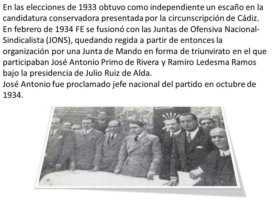 En las elecciones de 1933 obtuvo como independiente un escaño en la candidatura conservadora presentada por la circunscripción de Cádiz.