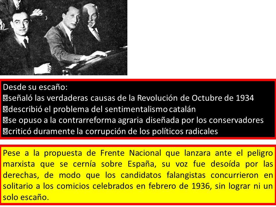Desde su escaño:señaló las verdaderas causas de la Revolución de Octubre de 1934. describió el problema del sentimentalismo catalán.