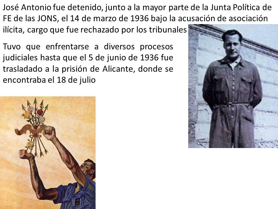 José Antonio fue detenido, junto a la mayor parte de la Junta Política de FE de las JONS, el 14 de marzo de 1936 bajo la acusación de asociación ilícita, cargo que fue rechazado por los tribunales