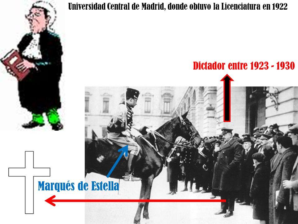 Marqués de Estella Dictador entre 1923 - 1930