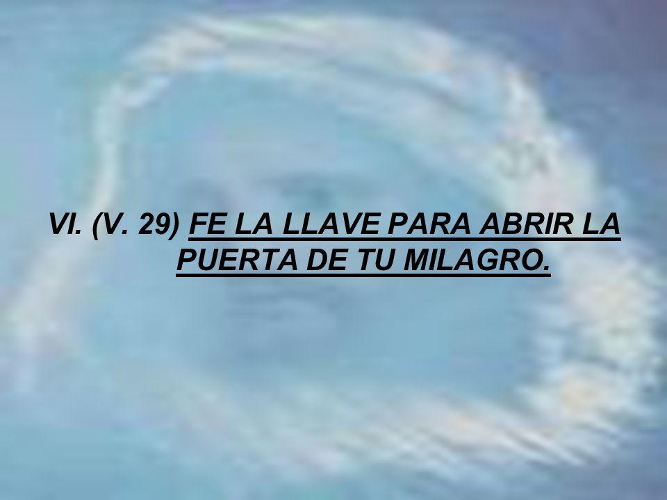 VI. (V. 29) FE LA LLAVE PARA ABRIR LA PUERTA DE TU MILAGRO.