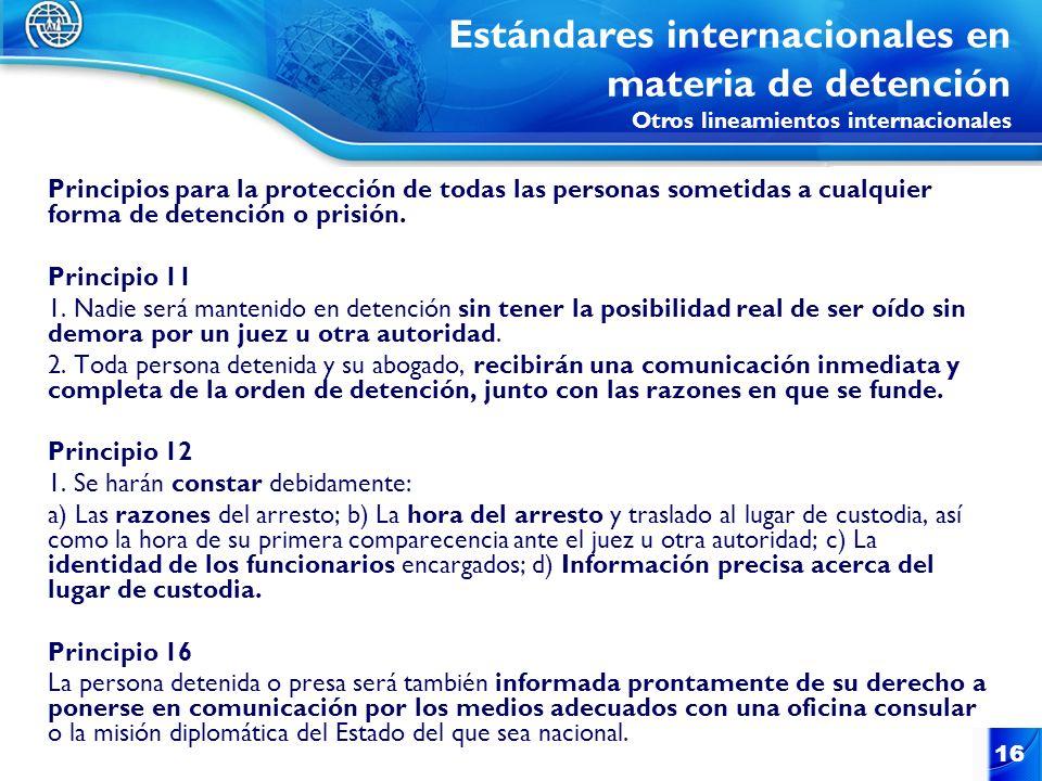 Estándares internacionales en materia de detención Otros lineamientos internacionales